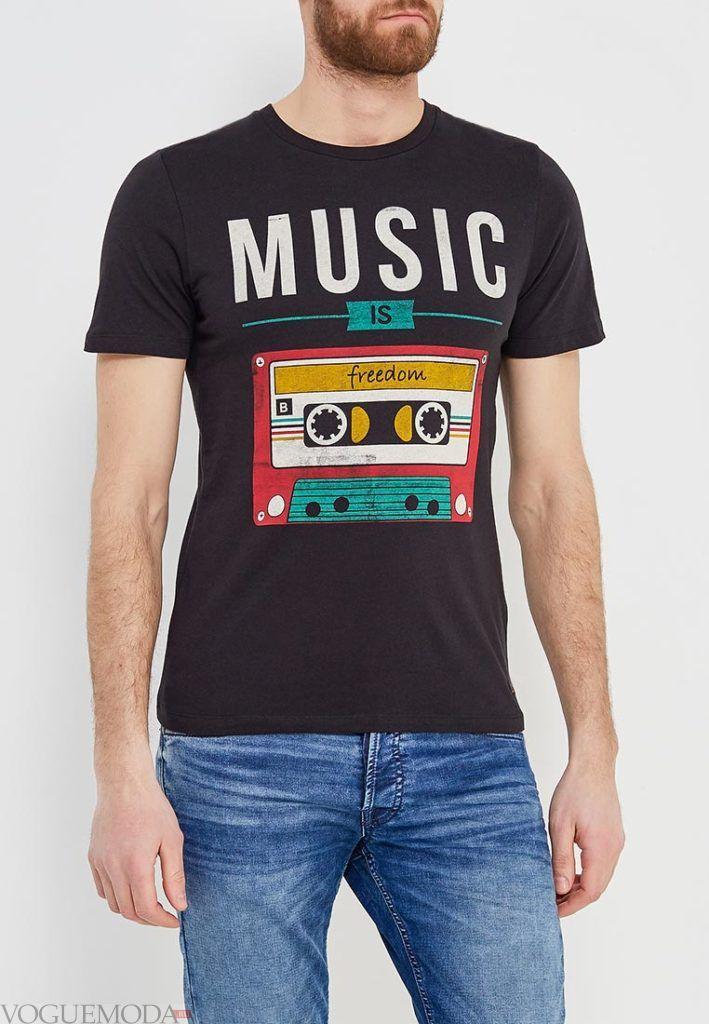 мужская черная футболка с рисунком