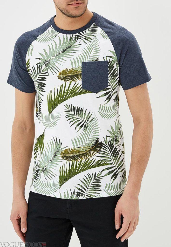 мужская двухцветная футболка с принтом
