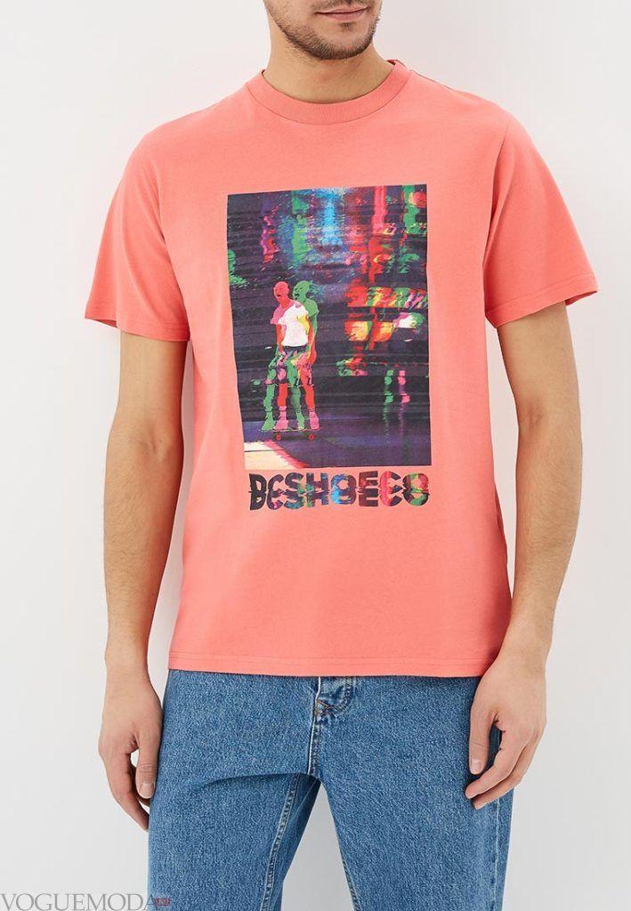 мужская коралловая футболка с принтом