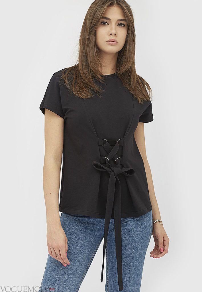 женская черная футболка со шнуровкой