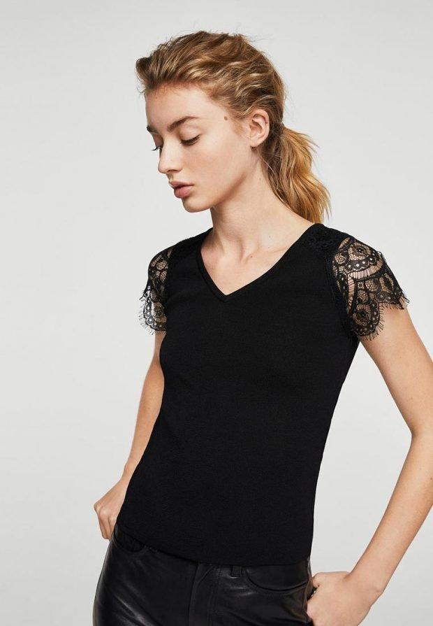женская черная футболка с кружевом