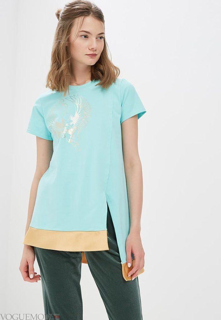 женская асимметричная футболка