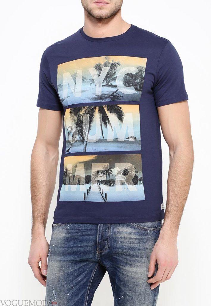 мужская синяя футболка с изображением