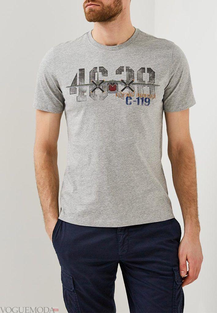 мужская серая футболка с надписью