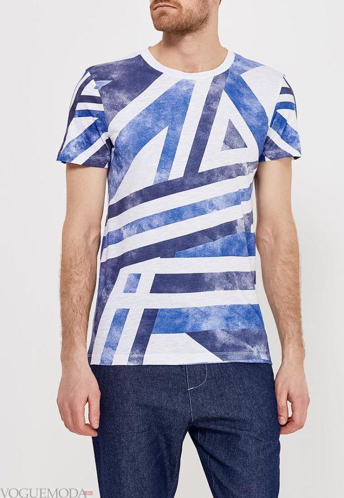 мужская футболка с геометрическим принтом