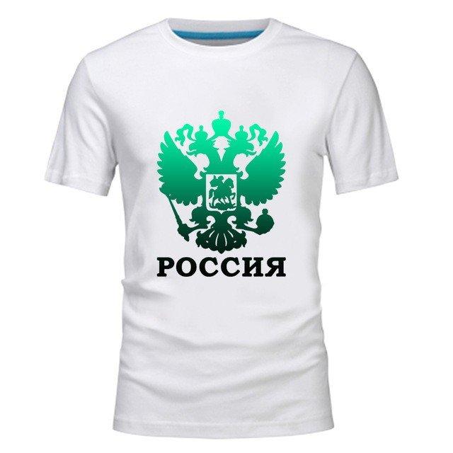 белая футболка с российской символикой