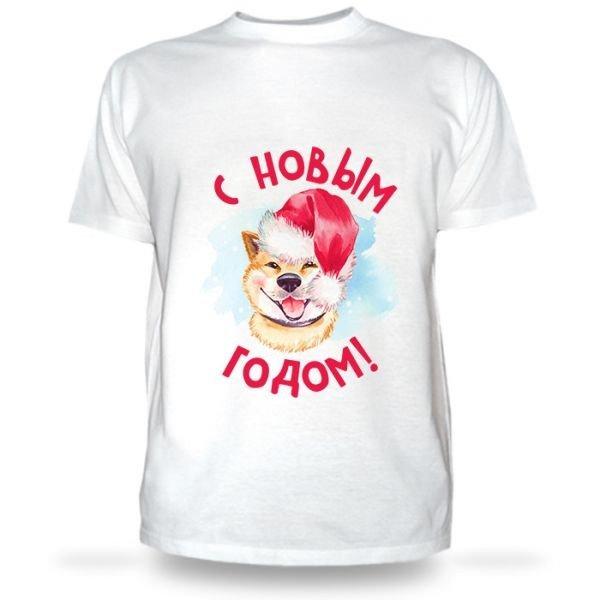новогодняя футболка с принтом собаки