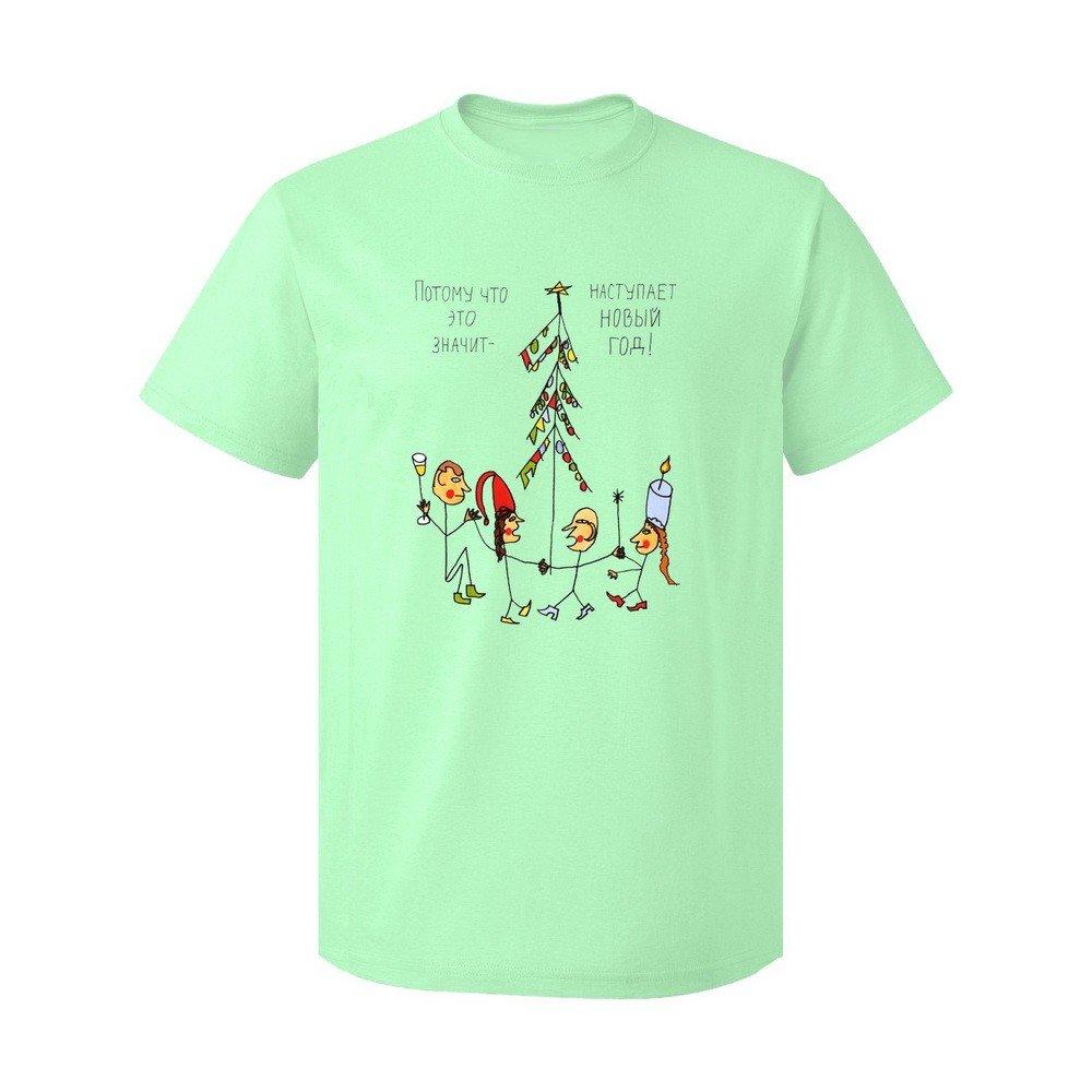 новогодняя мятная футболка с принтом