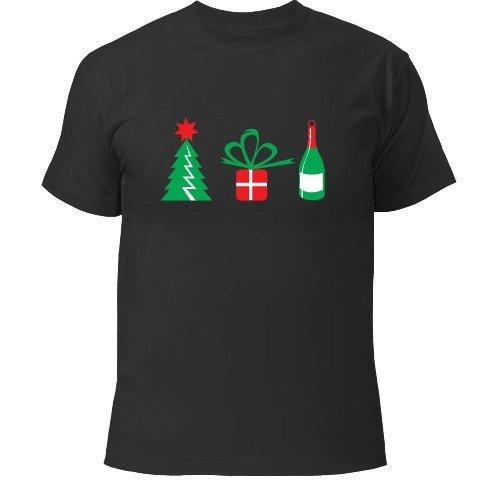 новогодняя темная футболка с принтом