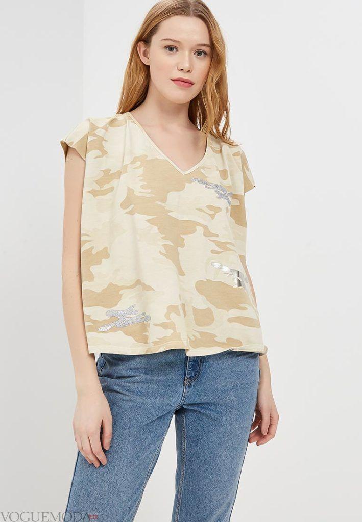 женская футболка оверсайз с принтом