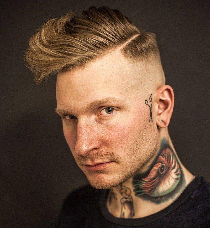 мужская стрижка «С выбритыми висками» для русых волос