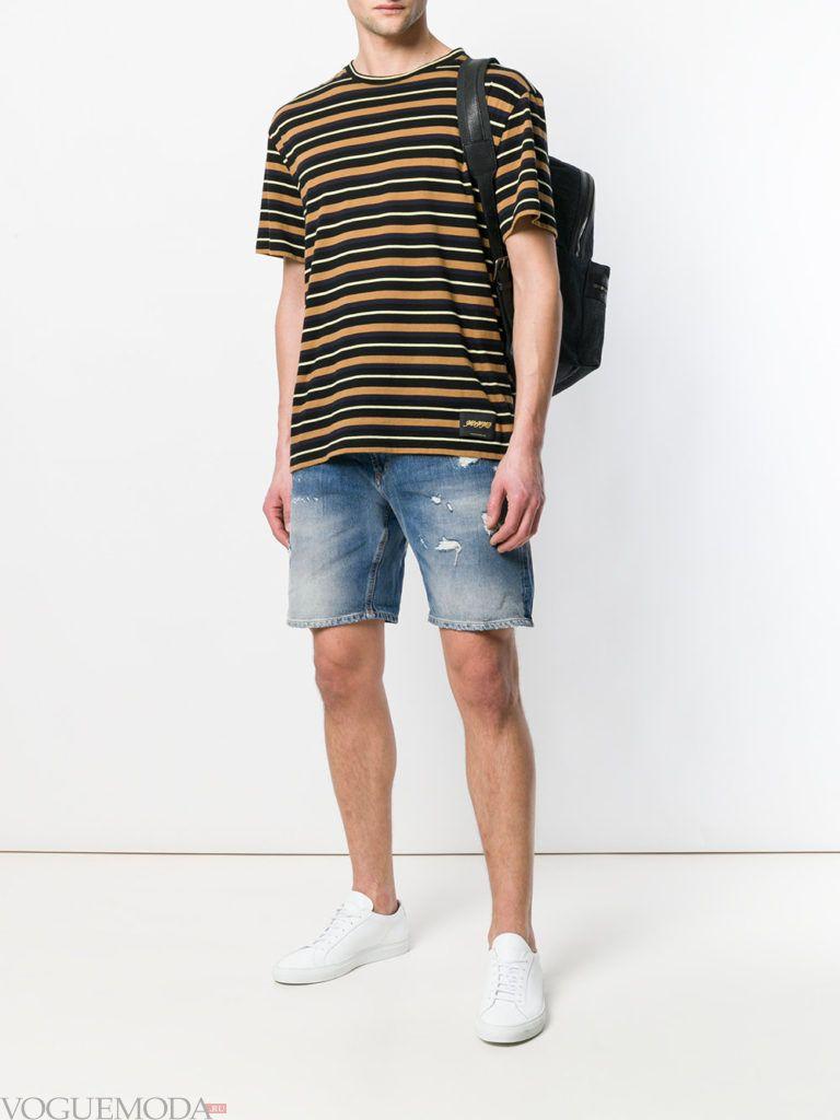 мужские джинсовые шорты и футболка в полоску
