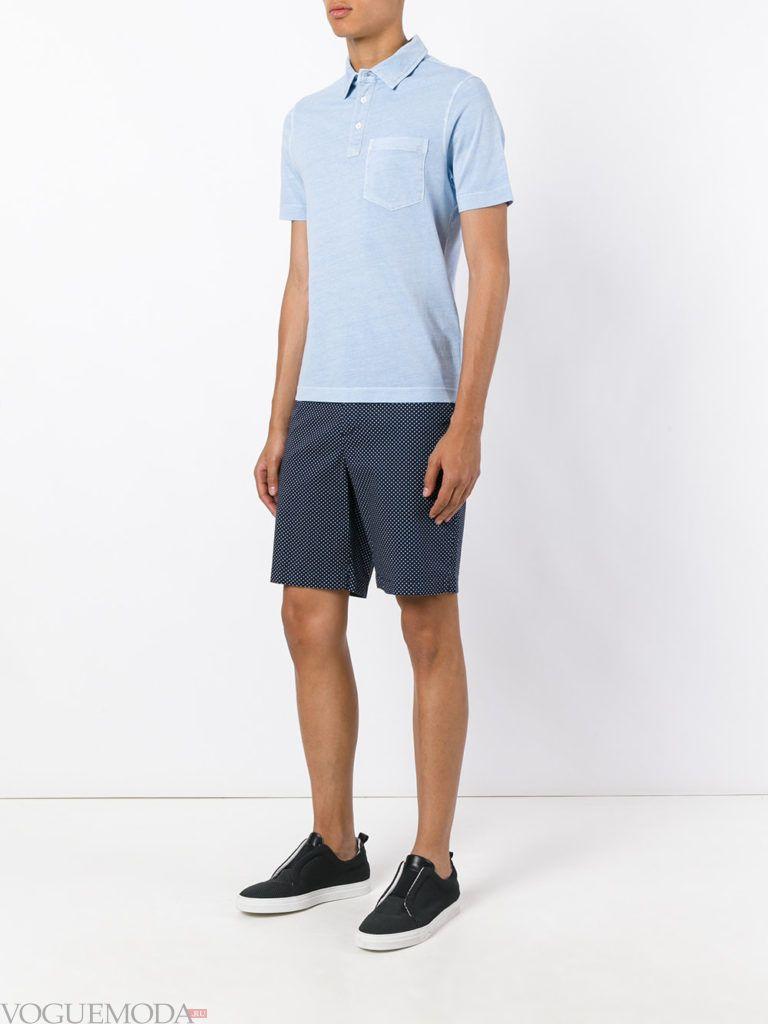 мужские синие шорты и голубое поло