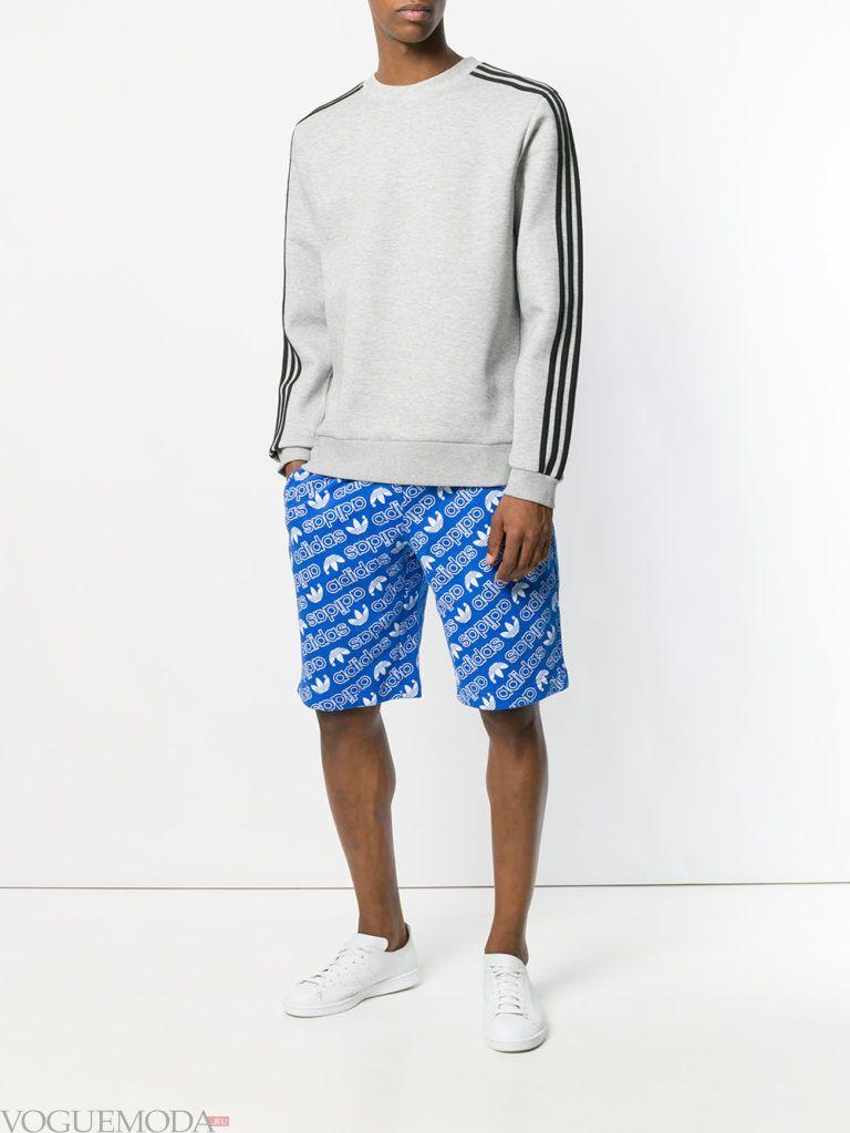 мужские синие шорты с принтом и серый реглан
