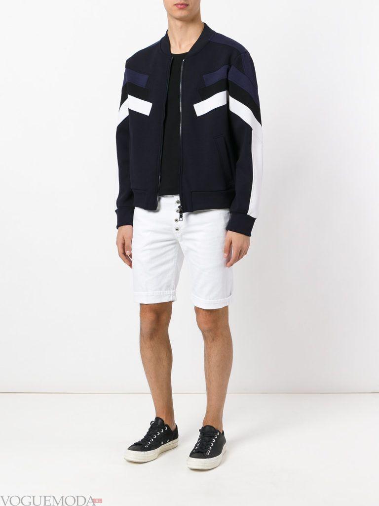 мужские белые шорты и кардиган на молнии