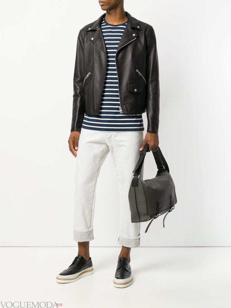 мужская черная косуха и белые брюки