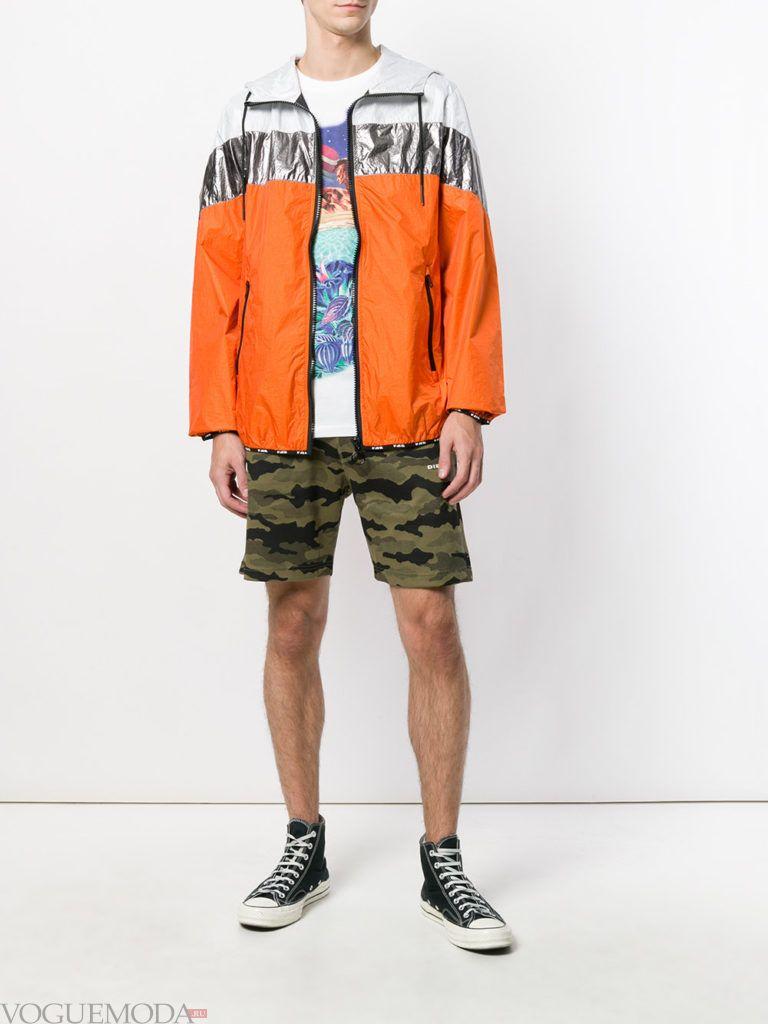 мужская легкая куртка и шорты камуфляж