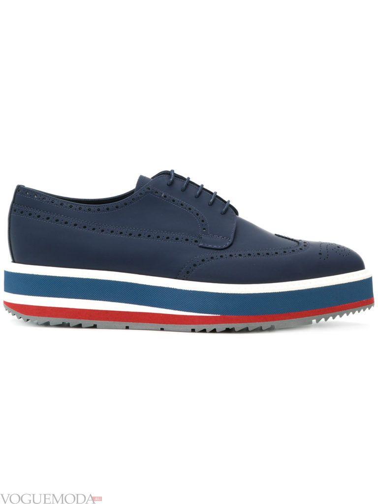 мужские синие туфли на платформе