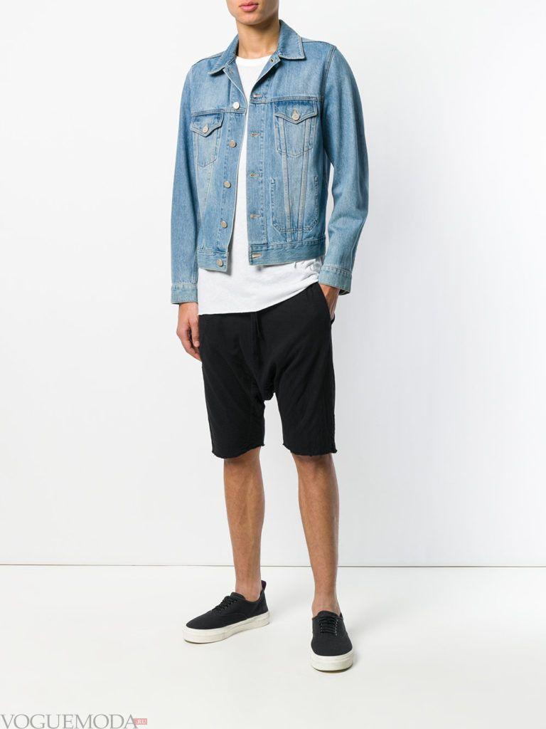 мужские черные шорты и джинсовая куртка