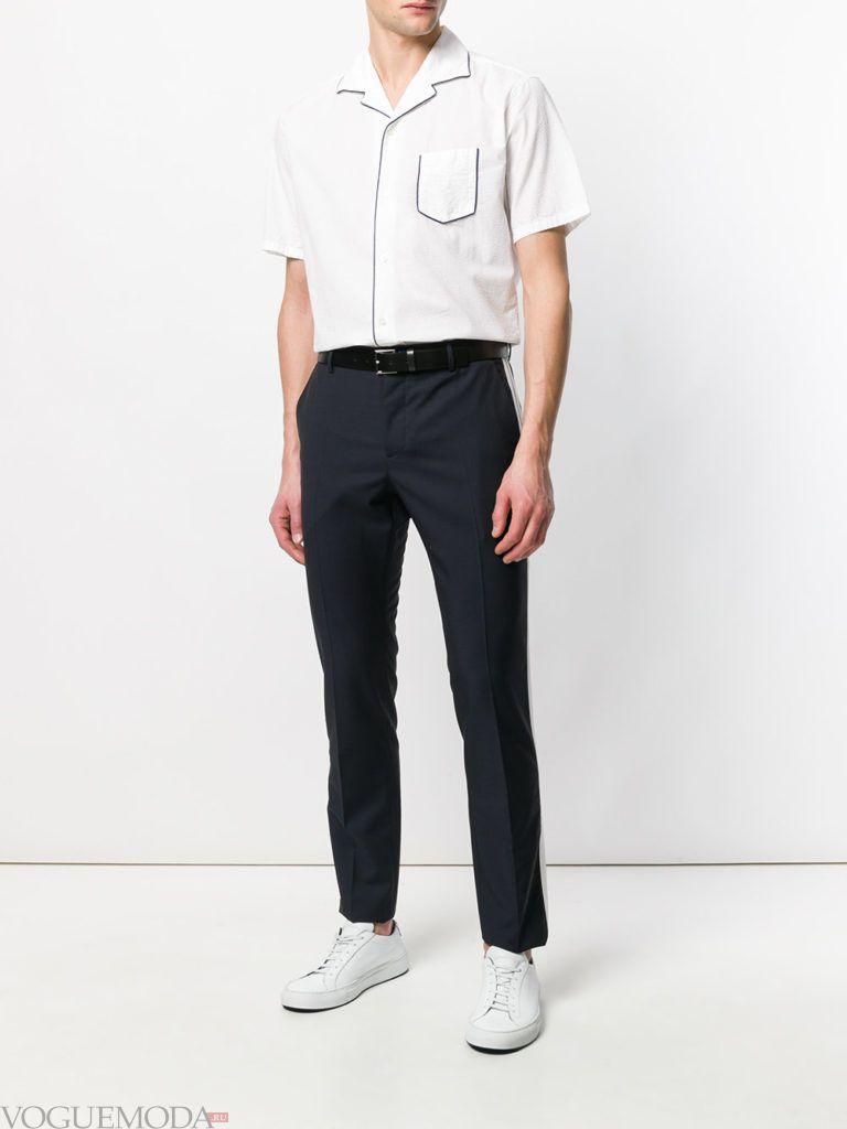 мужские синие брюки и белая рубашка лето