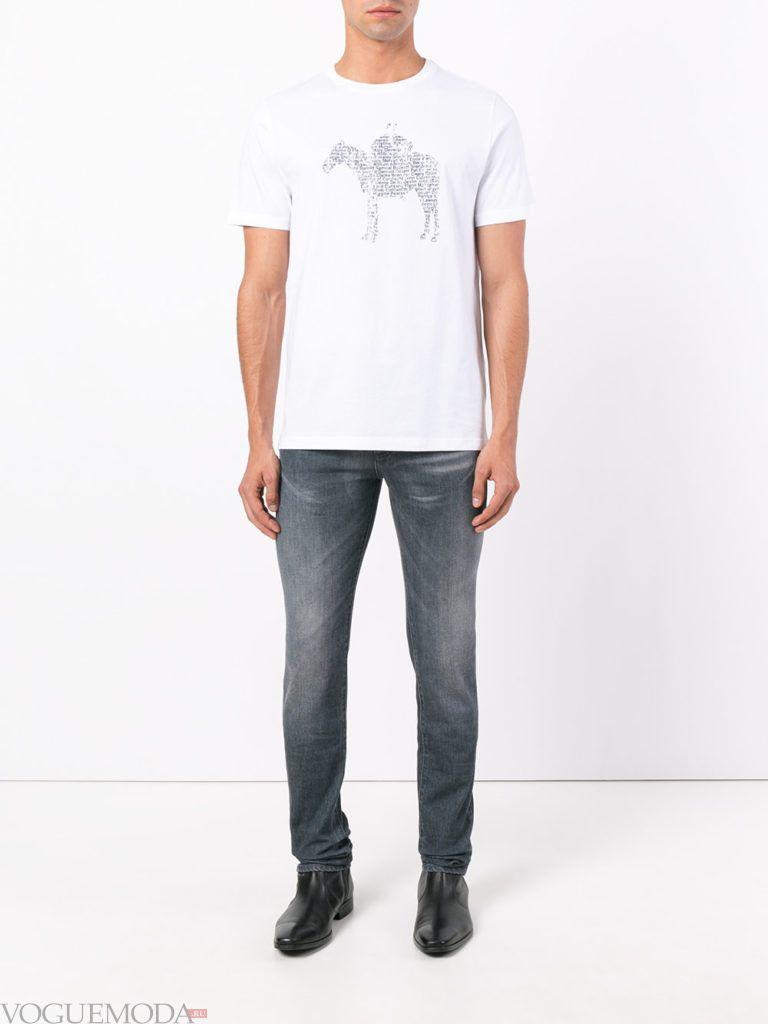 мужские джинсы скинни и белая футболка с рисунком лето