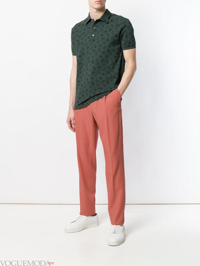 мужские цветные брюки и поло с принтом лето