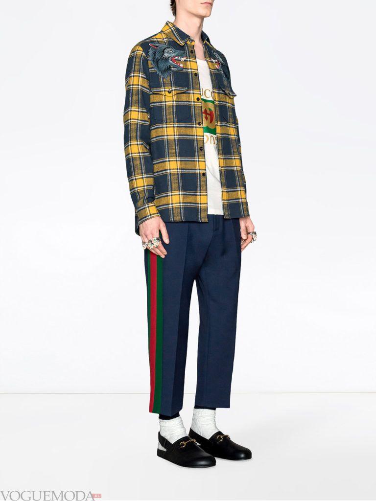 мужские брюки с лампасами и рубашка в клетку лето