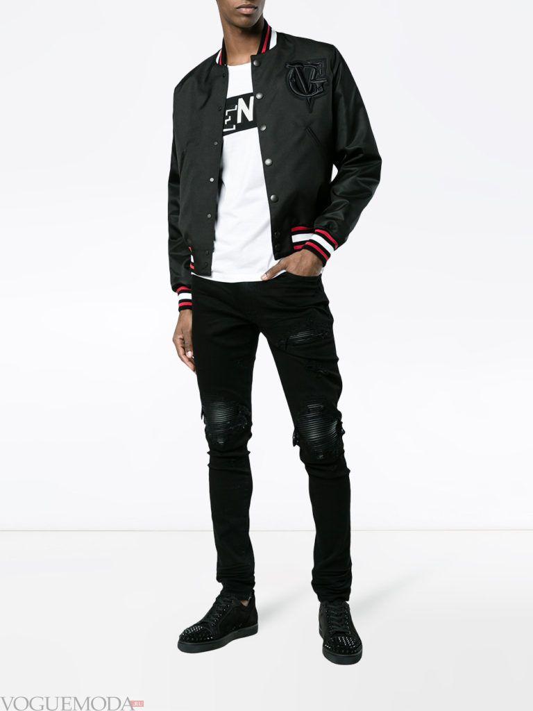 мужские байкерские брюки и черный бомбер весна