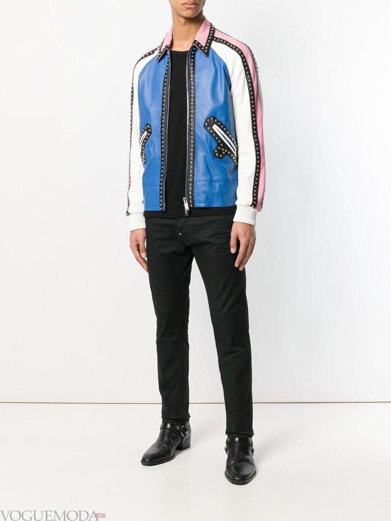 мужские черные брюки кожаная куртка весна