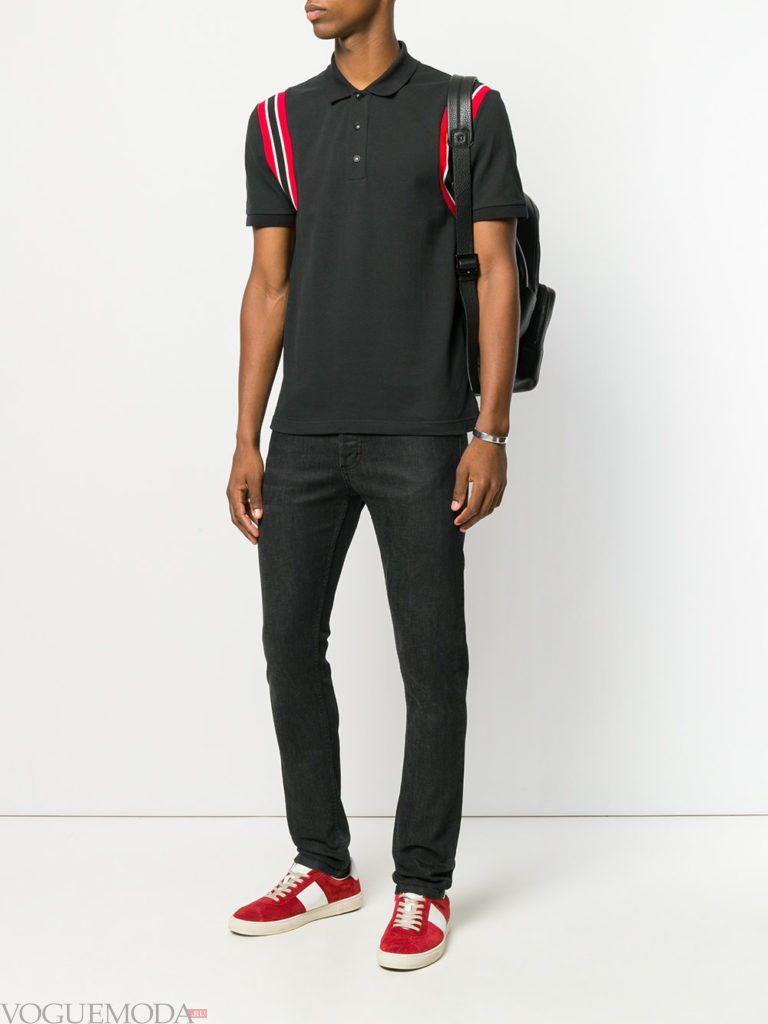 мужские черные джинсы и футболка весна