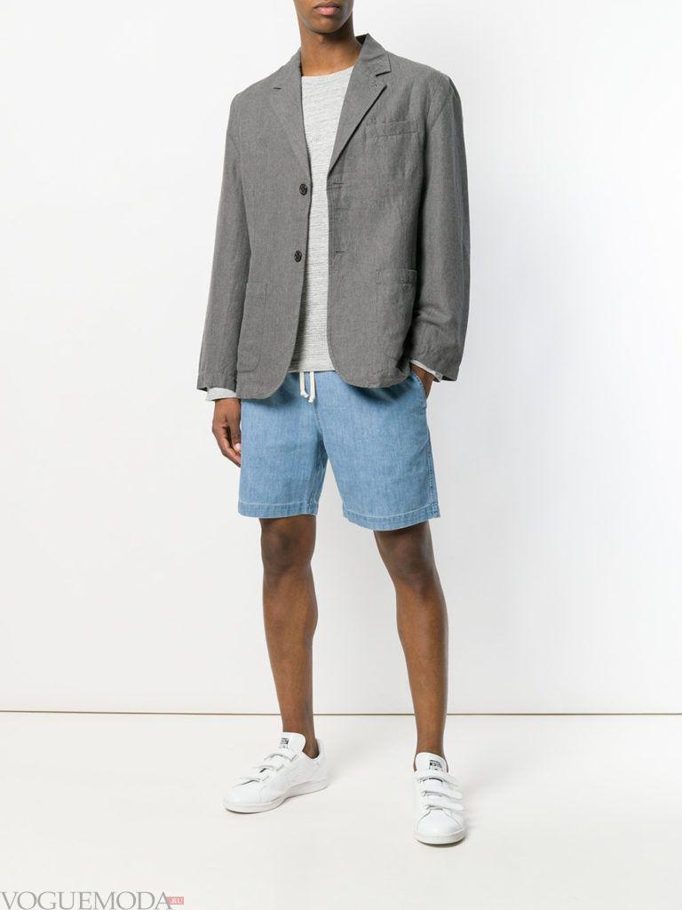 мужские джинсовые шорты и серый пиджак