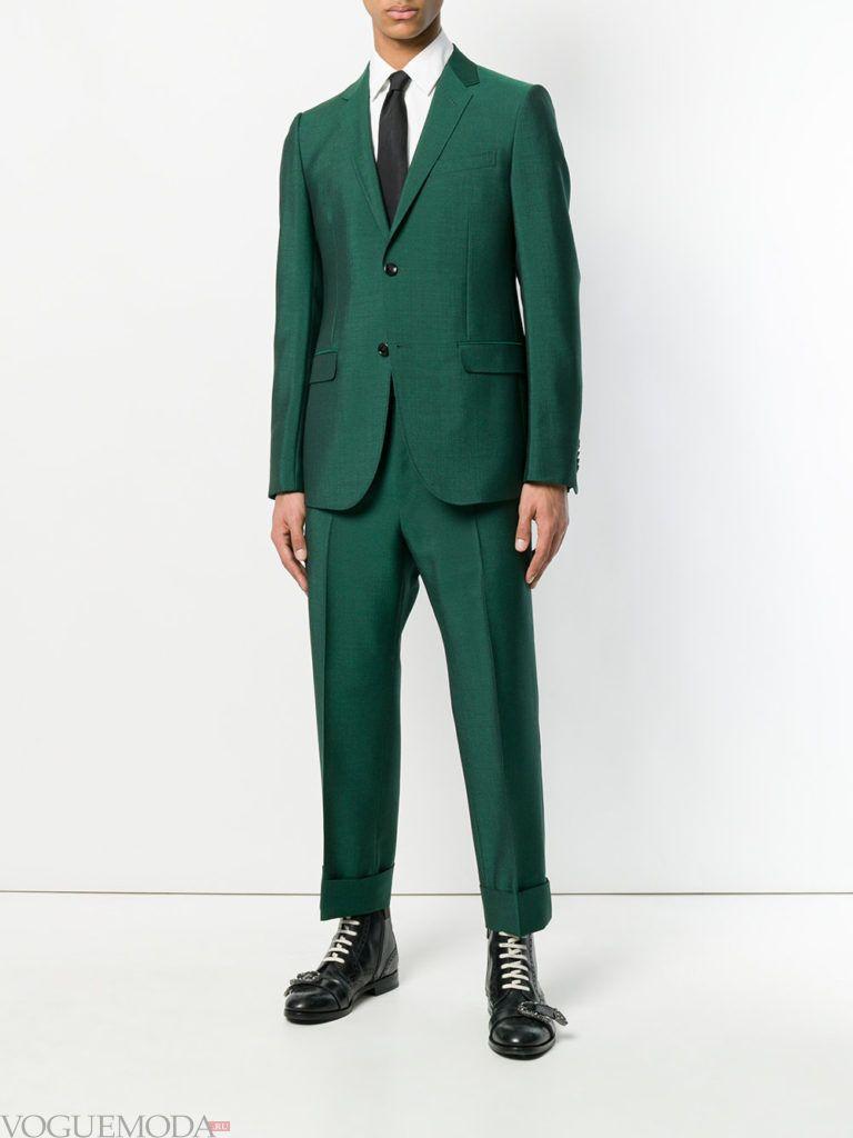 мужской зеленый костюм весна