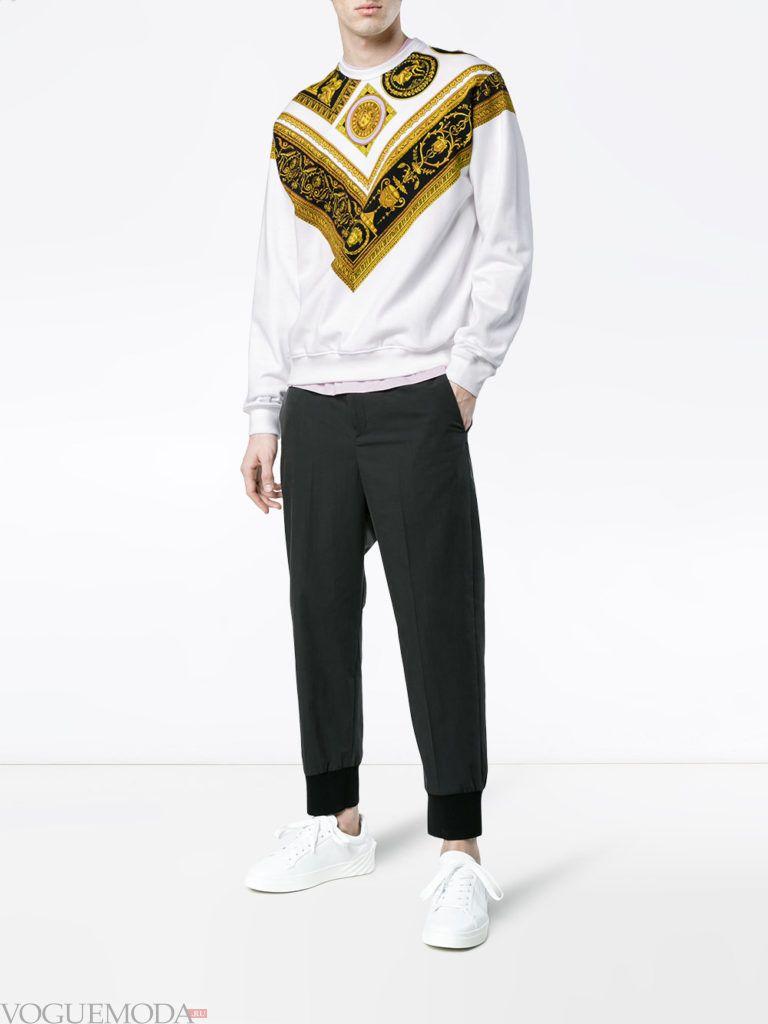 мужские брюки с манжетами и свитер с декором весна