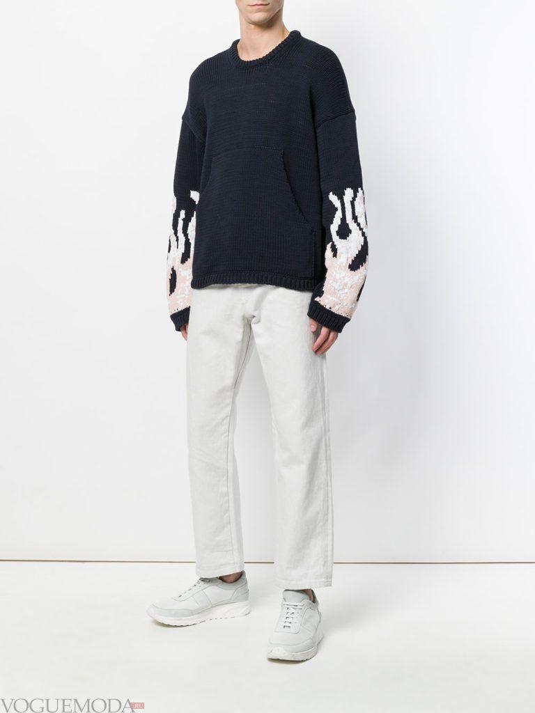 мужские укороченные брюки весна и свитер оверсайз весна