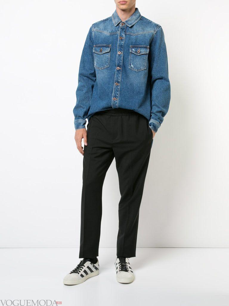 мужские укороченные брюки и джинсовая рубашка