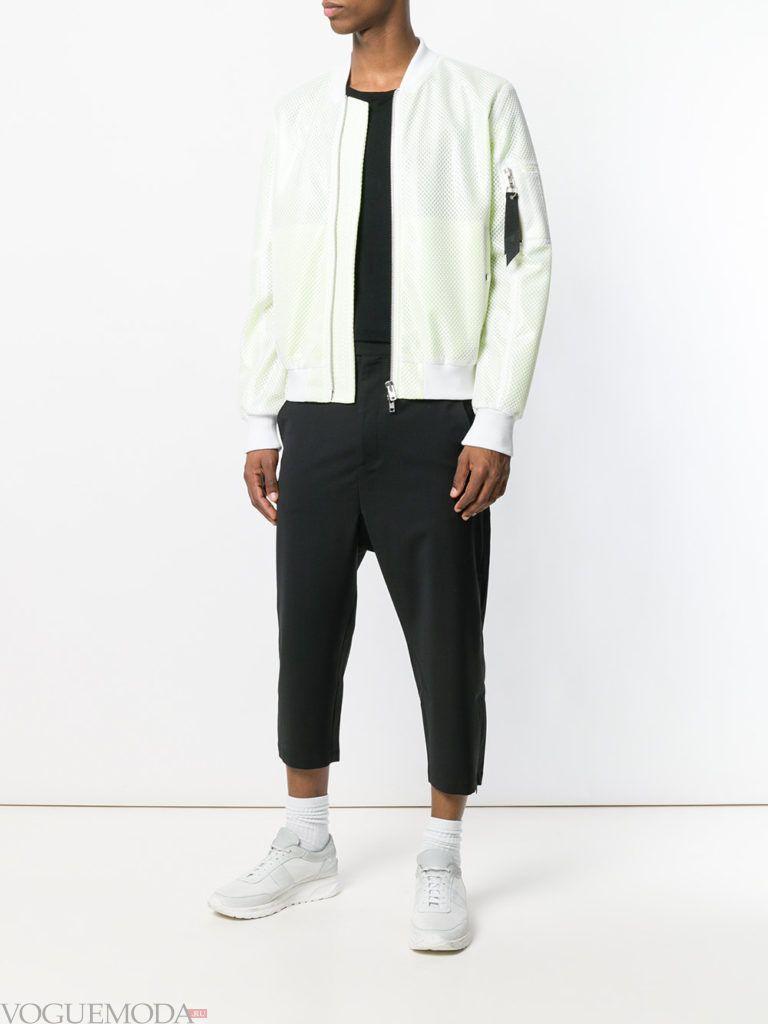 мужские укороченные черные брюки и белая куртка