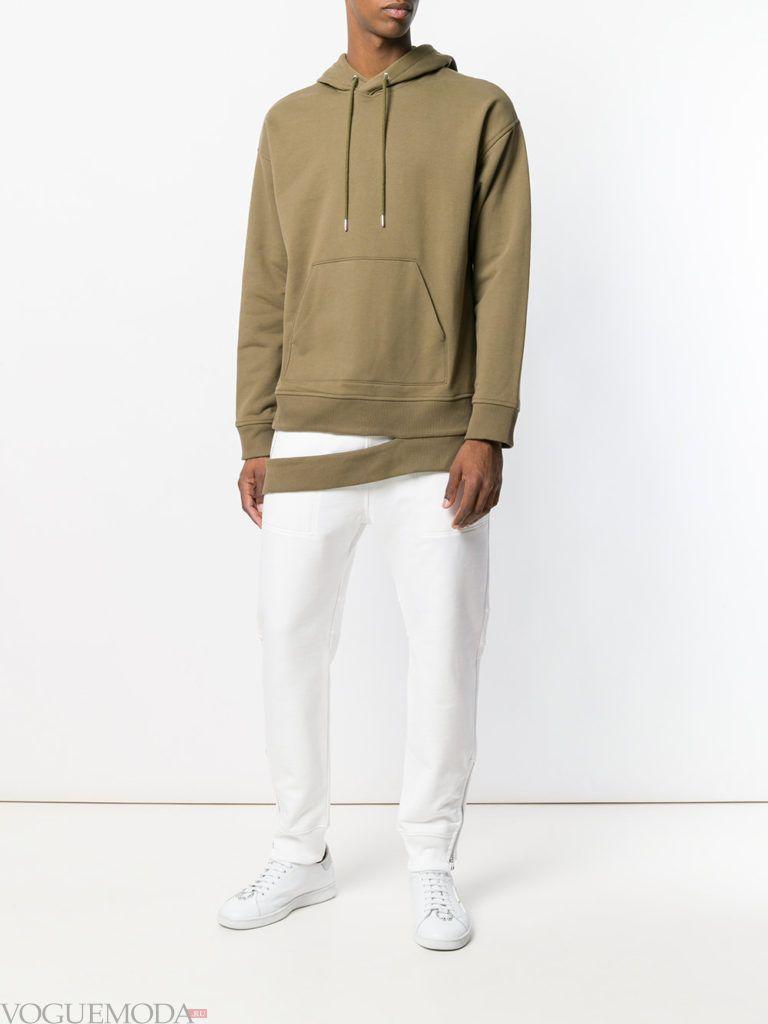 мужские белые брюки и худи с декором