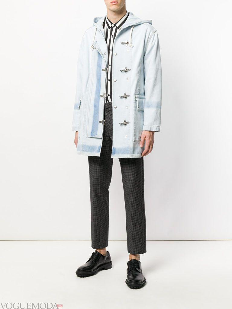 мужское джинсовое пальто и брюки в клетку