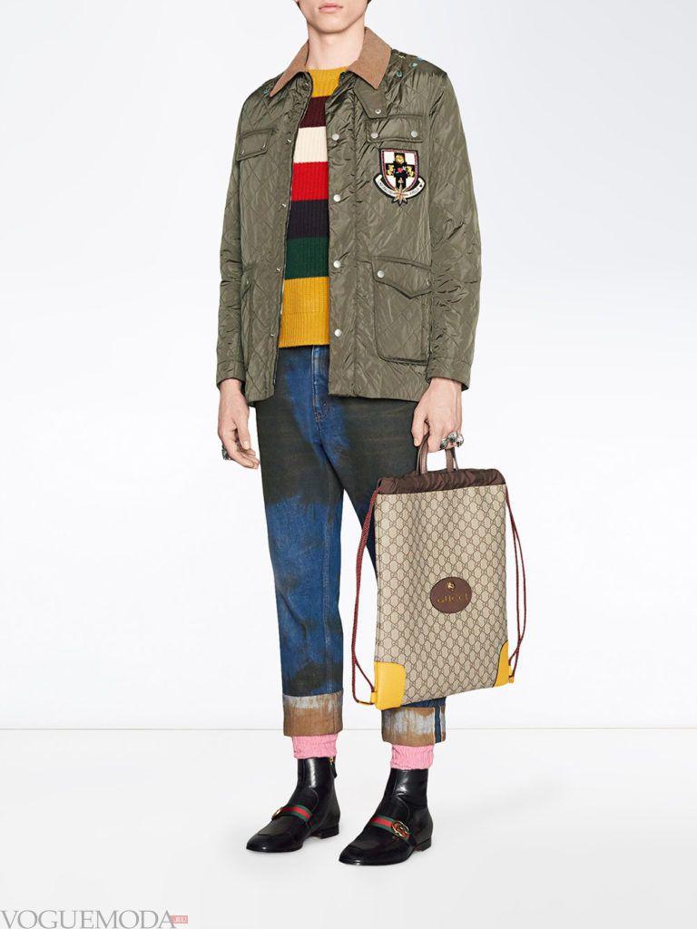 мужские джинсы с декором и оливковая джинсовая куртка