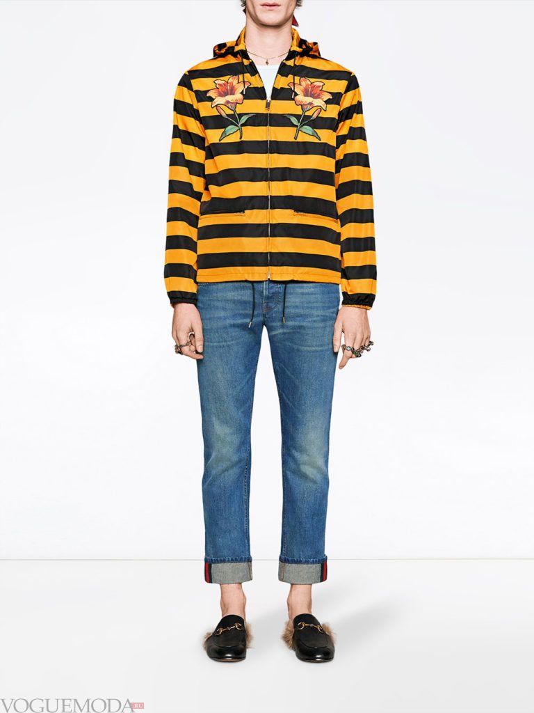 мужские джинсы с отворотом и худи в полоску