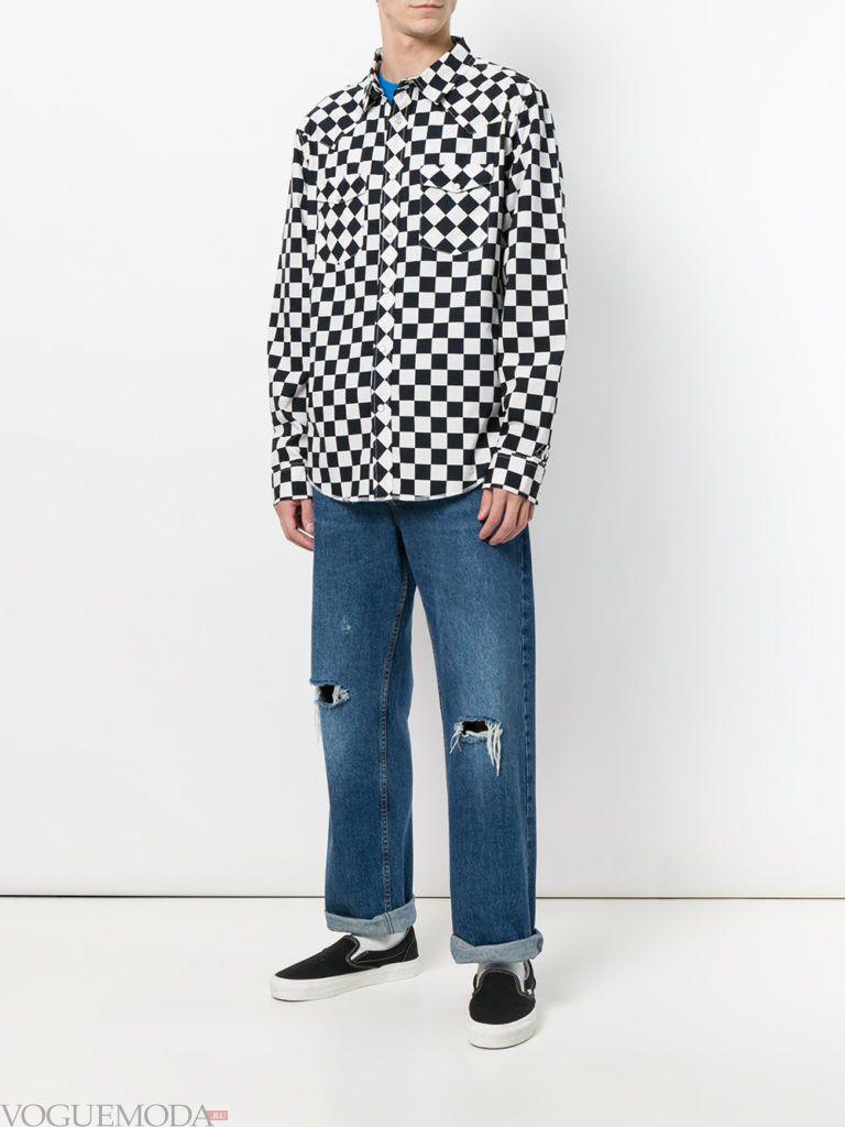 мужские свободные джинсы и рубашка с принтом