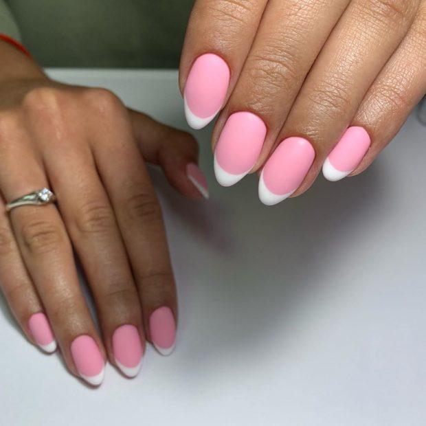 розовый френч на круглые ногти