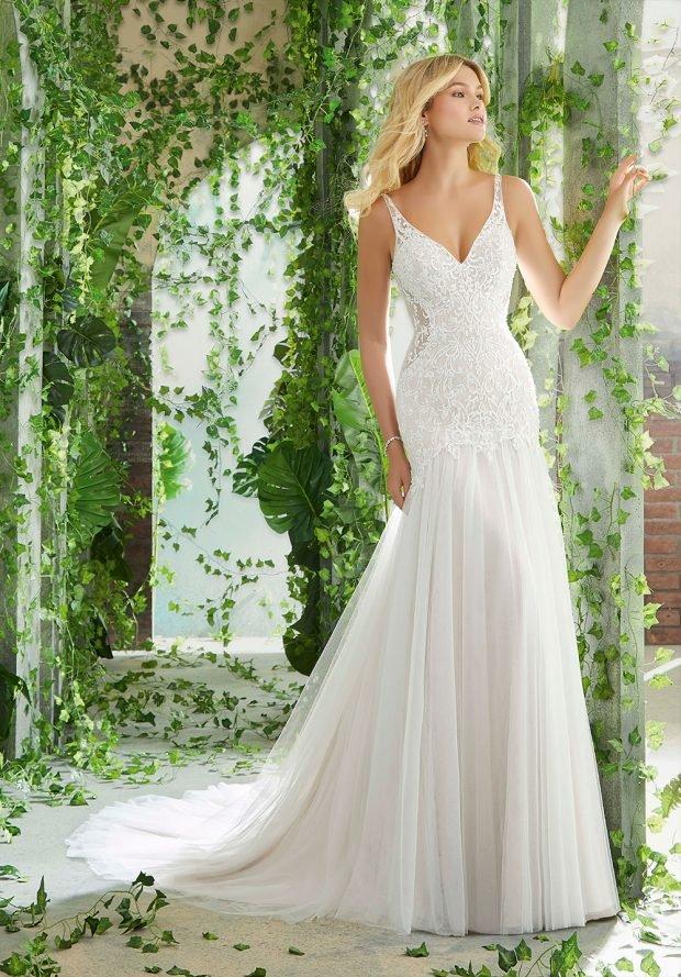 белое свадебное платье на бретелях ажурное